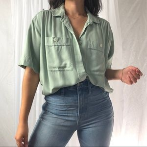 VINTAGE/ sage pocket blouse